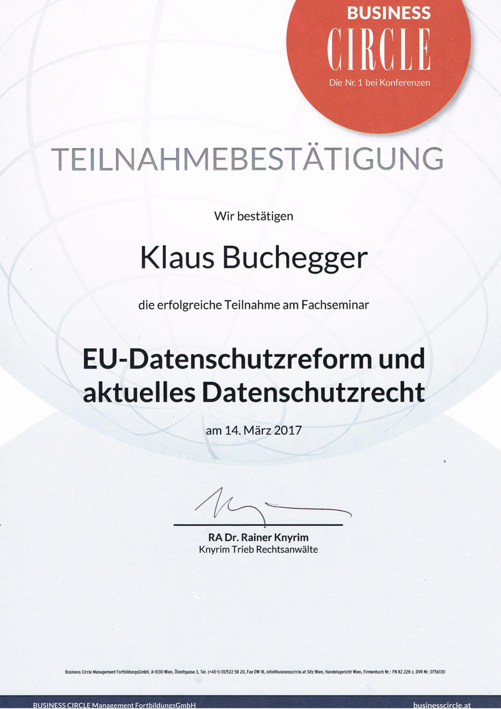 Bestätigung Datenschutzrecht