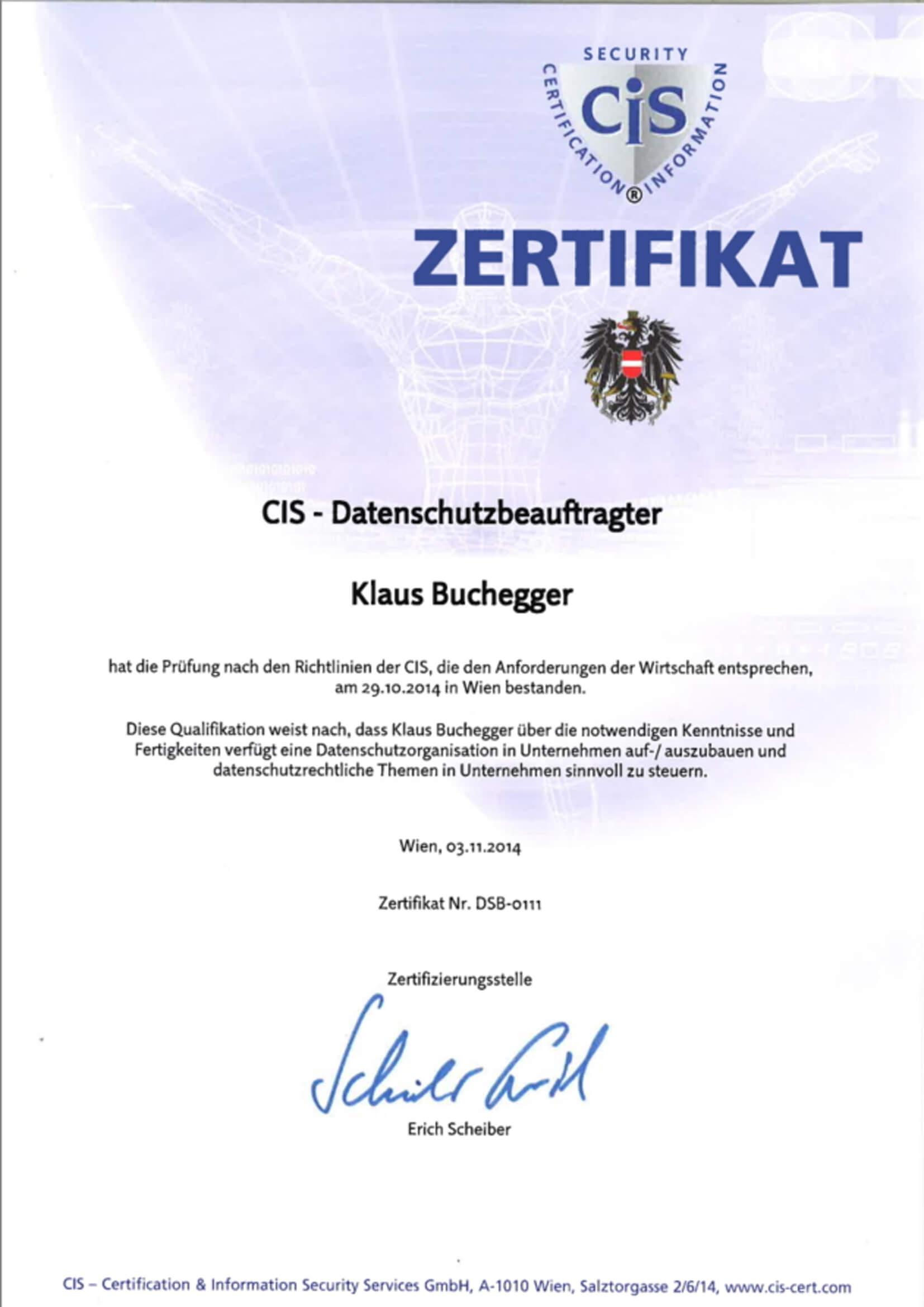 Zertifikat Datenschutzbeauftragter Klaus Buchegger